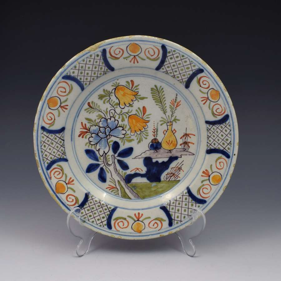 18th Century Polychrome Dutch Delft Plate
