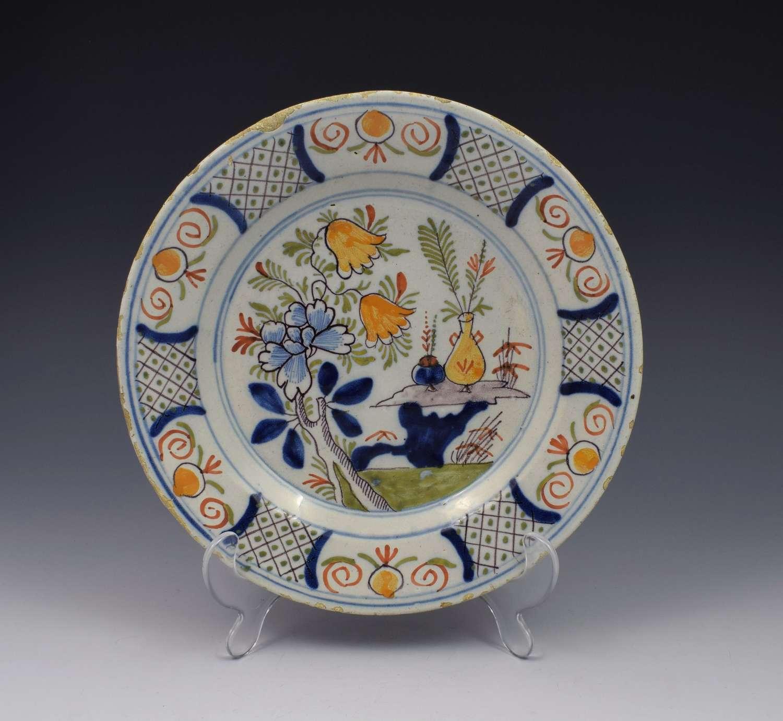 18th Century Polychrome Dutch Delft Plate