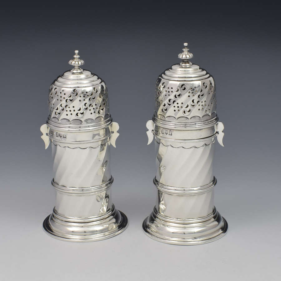 Pair Of Victorian Britannia Standard Silver Lighthouse Sugar Casters