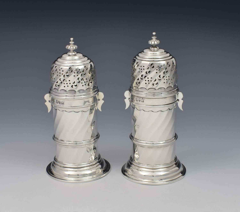 Pair Of Victorian Britannia Standard Silver Lighthouse Sugar Casters
