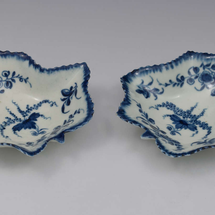 Pair Of First Period Worcester Porcelain Vine Leaf Pickle Dishes