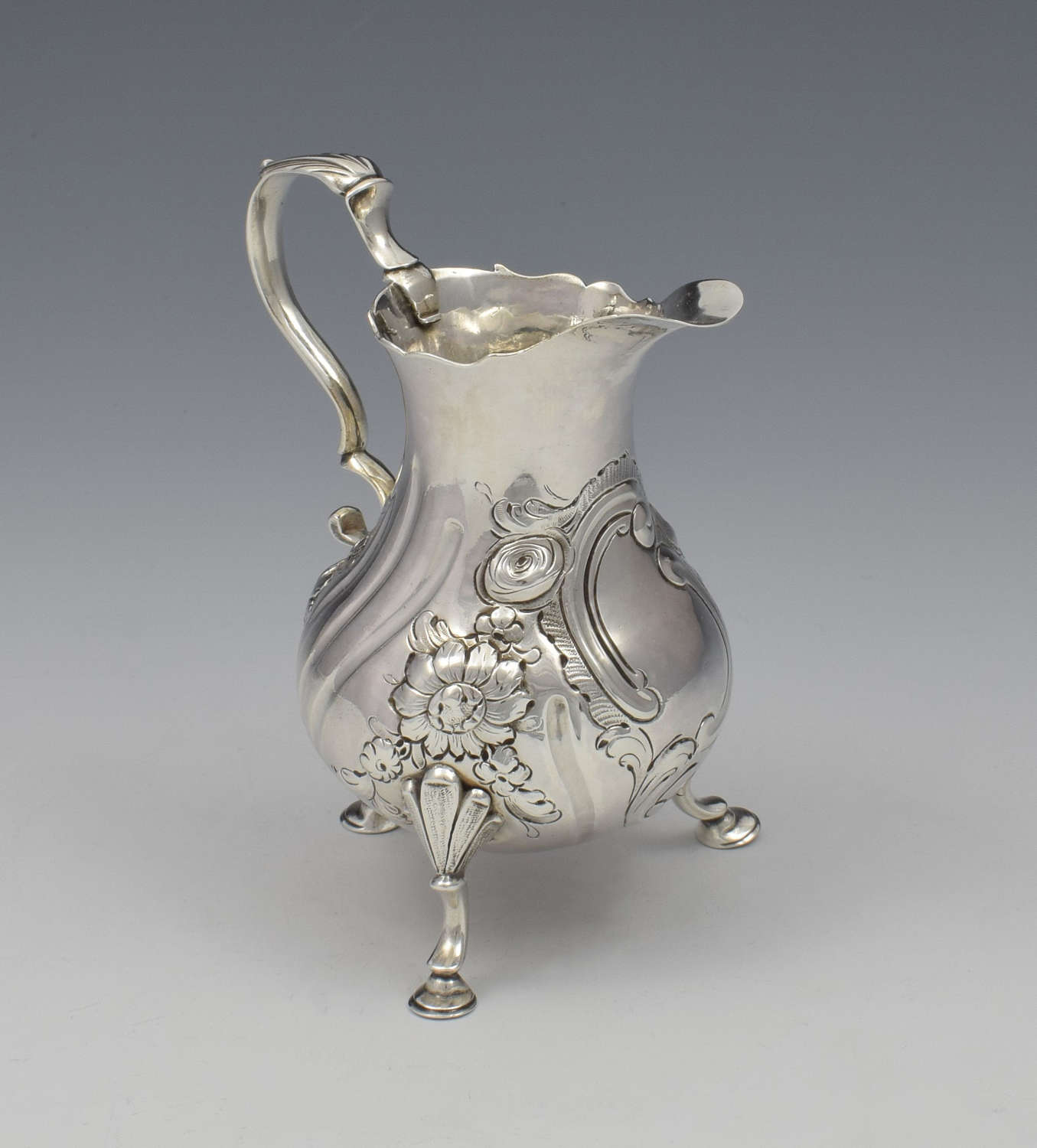 George II Silver Baluster Cream Jug David Hennell I