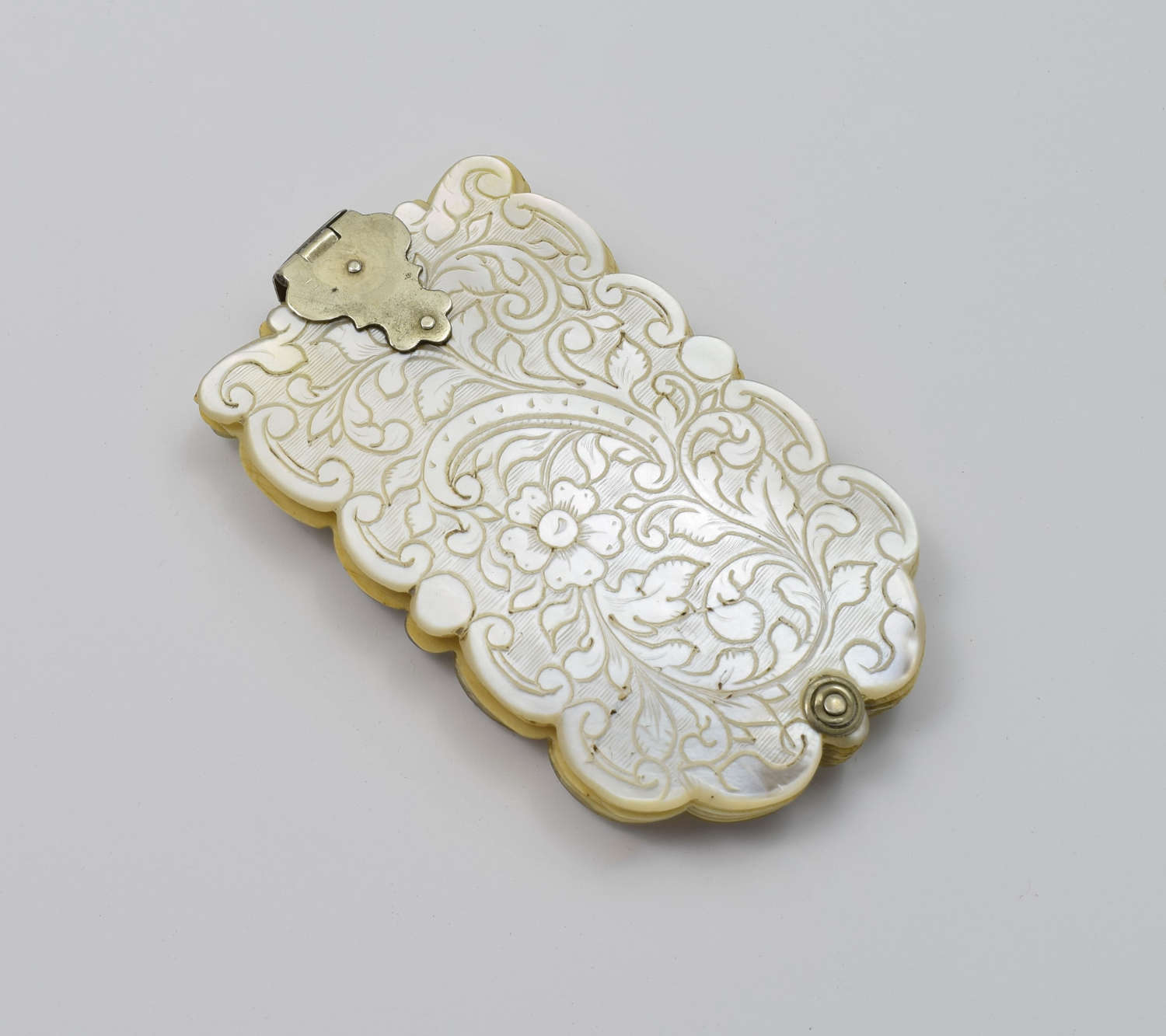 French Carved Mother Of Pearl Carnet De Bal / Dance Card Marker