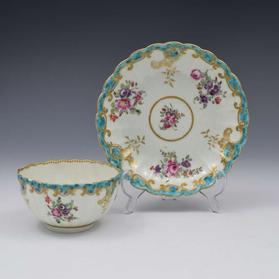 Pretty First Period Worcester Fluted Tea Bowl & Saucer C.1770