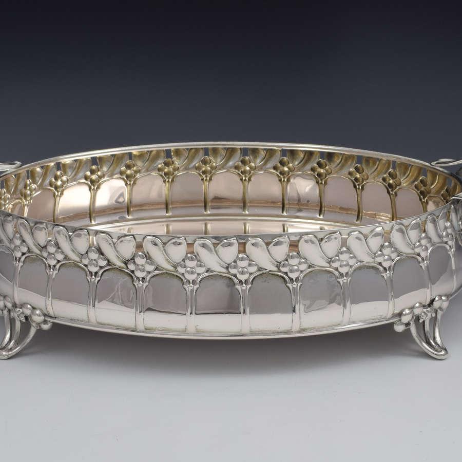 Art Nouveau German Silver Mistletoe Fruit Dish Wilkens & Sohne