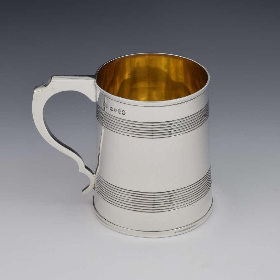 Victorian Silver 1 Pint Beer Mug Tankard Gilt Interior