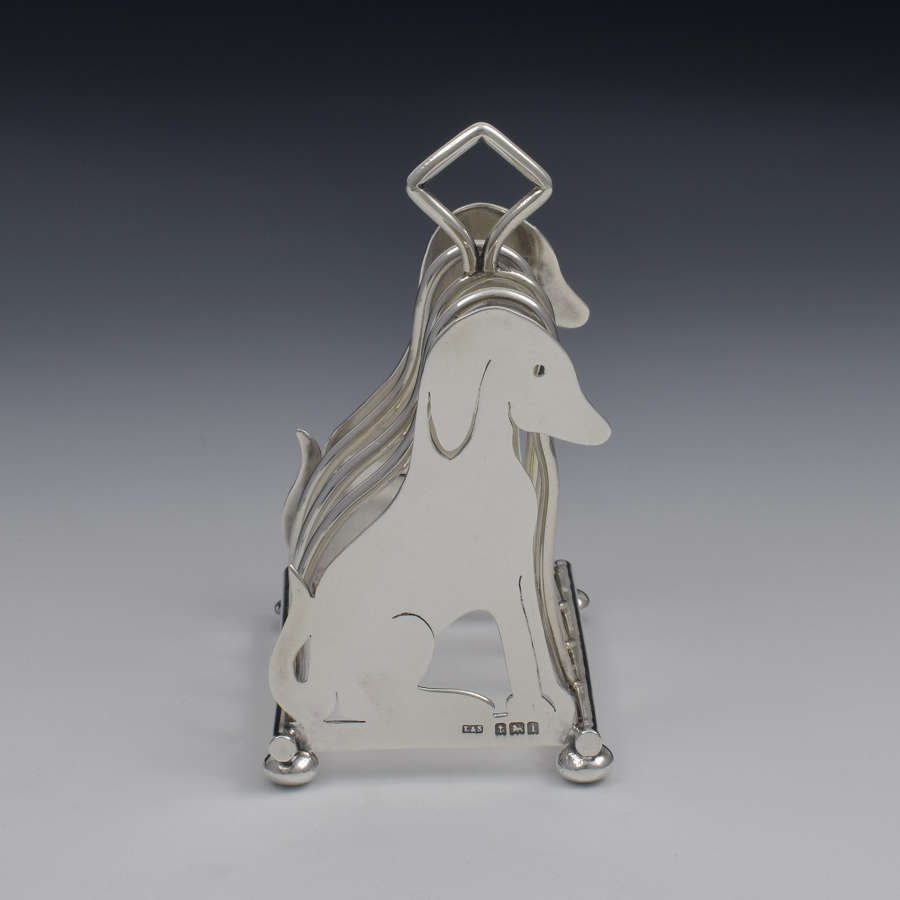 Edwardian Novelty Dog Silver Toast Rack Levi & Salaman