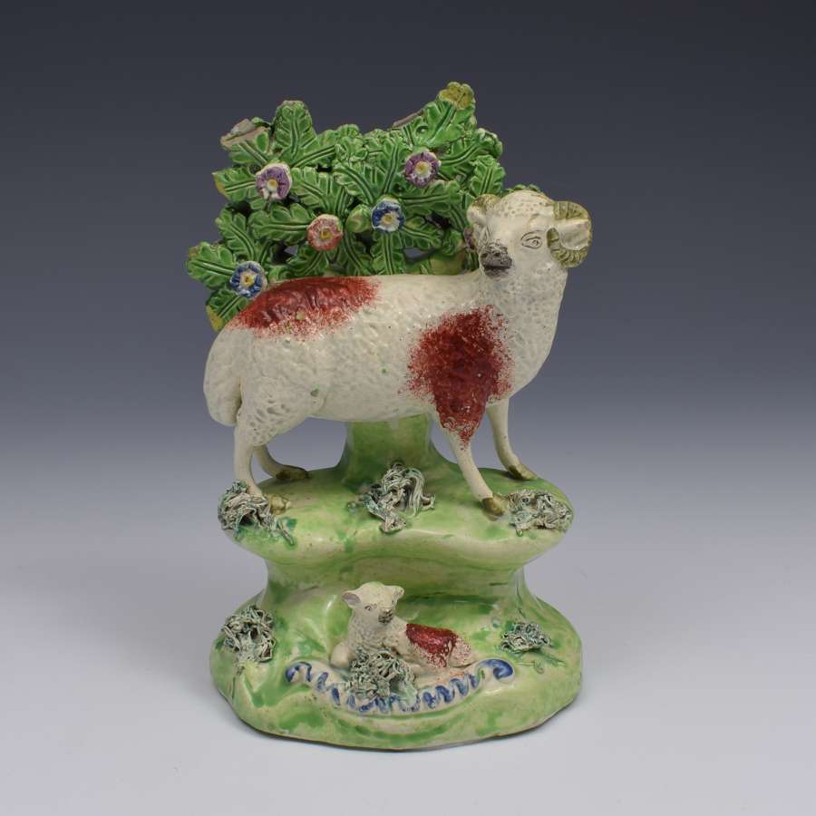 Early 19thc Walton Staffordshire Pearlware Bocage Group Ram & Lamb