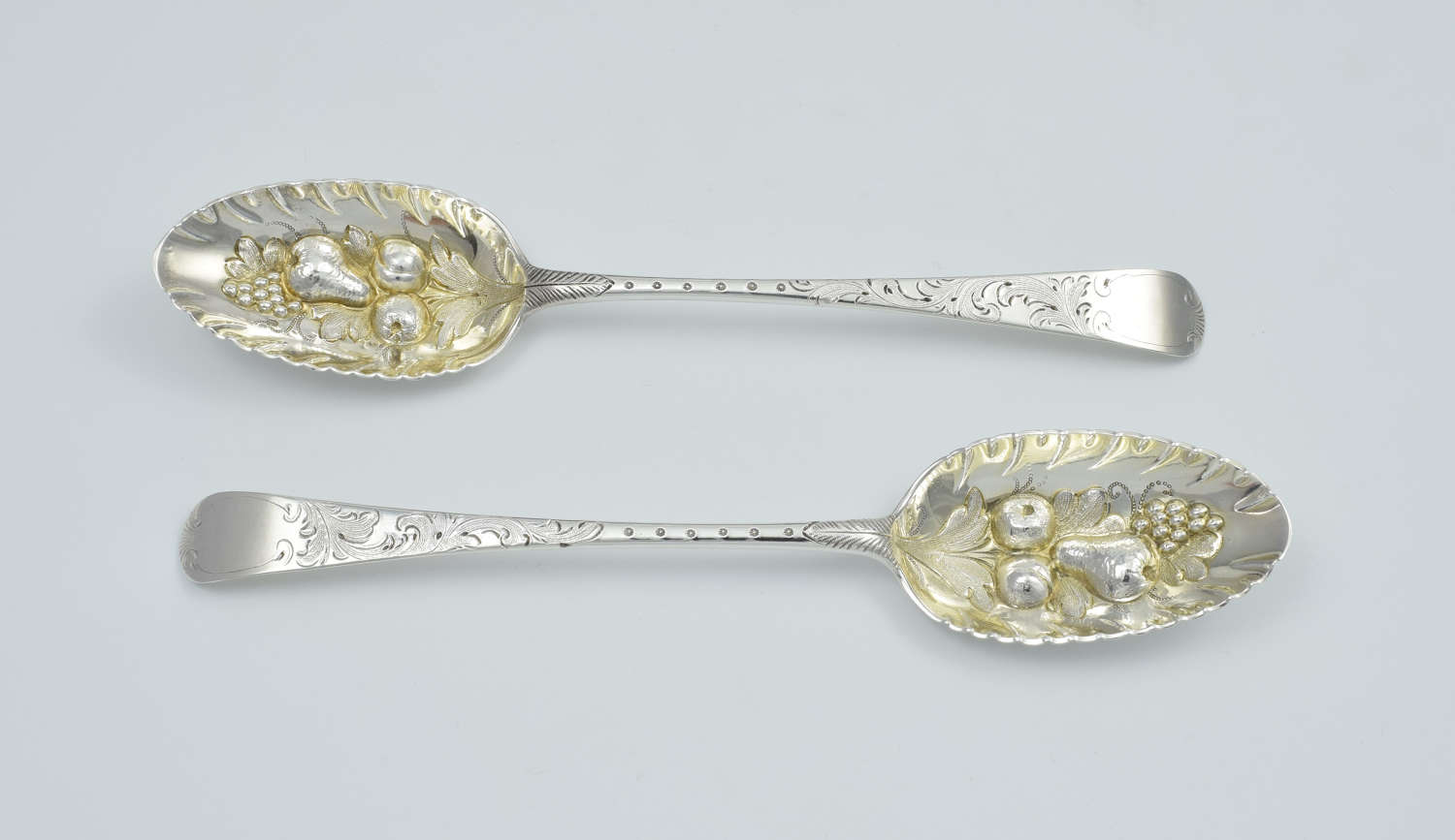 George III Pair Silver Gilt Berry Spoons 1778 London William Cattell