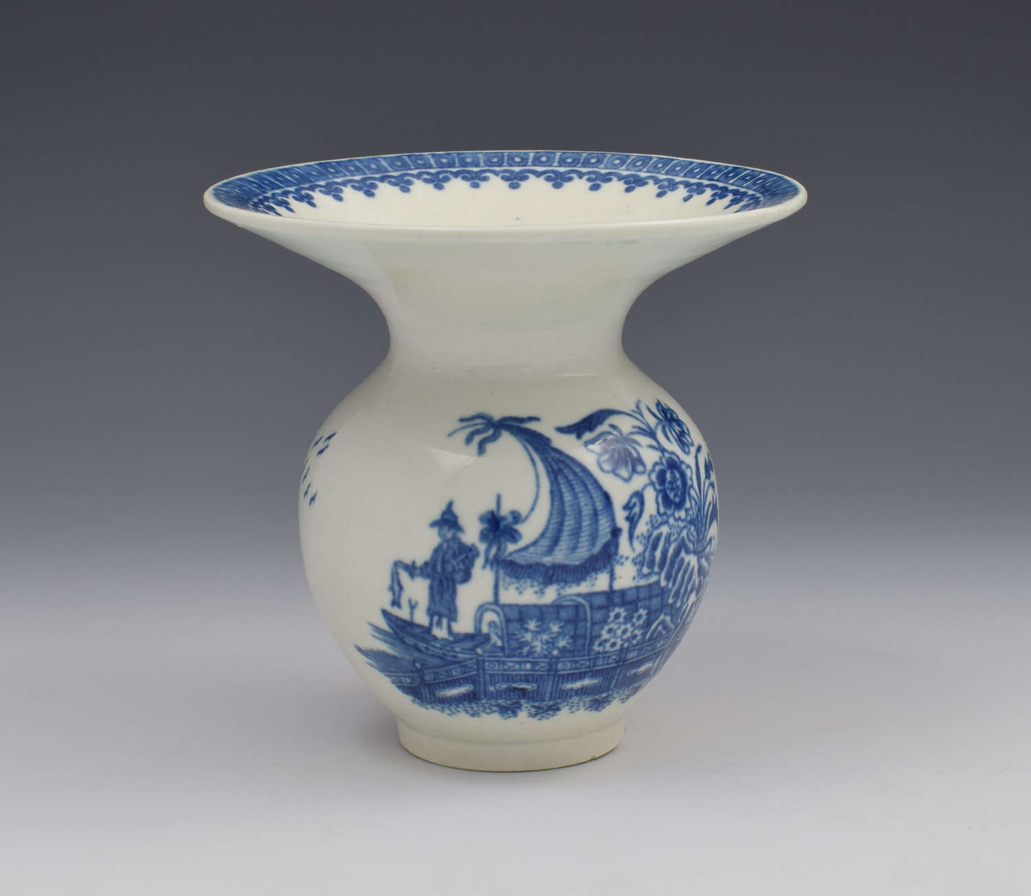 Rare First Period Worcester Spittoon Fisherman & Cormorant Pattern