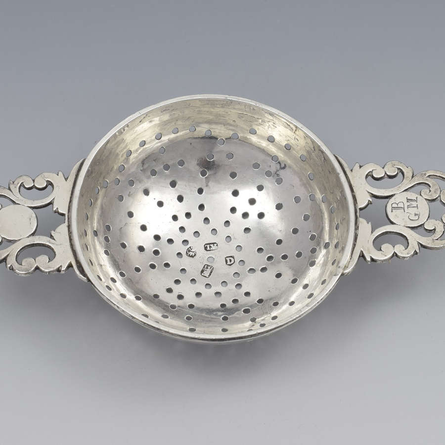George I Britannia Silver Lemon Strainer London 1719 John Albright