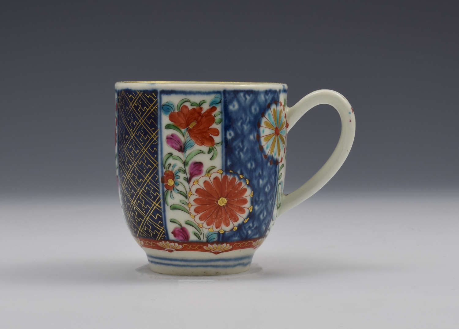Pretty First Period Worcester Coffee Cup Old Mosaic Pattern C.1770