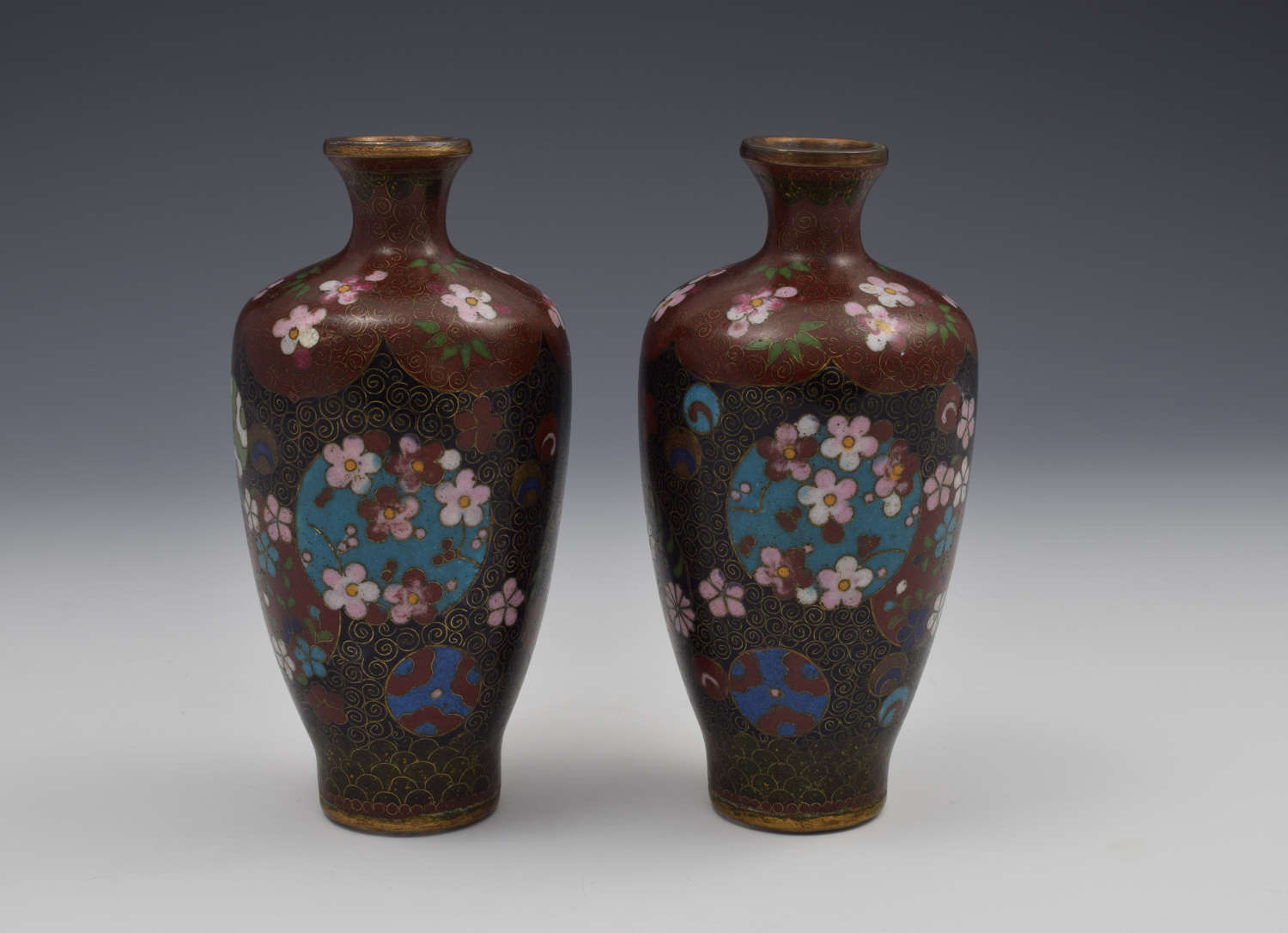Pair Small Japanese Meiji Period Cloisonne Vases