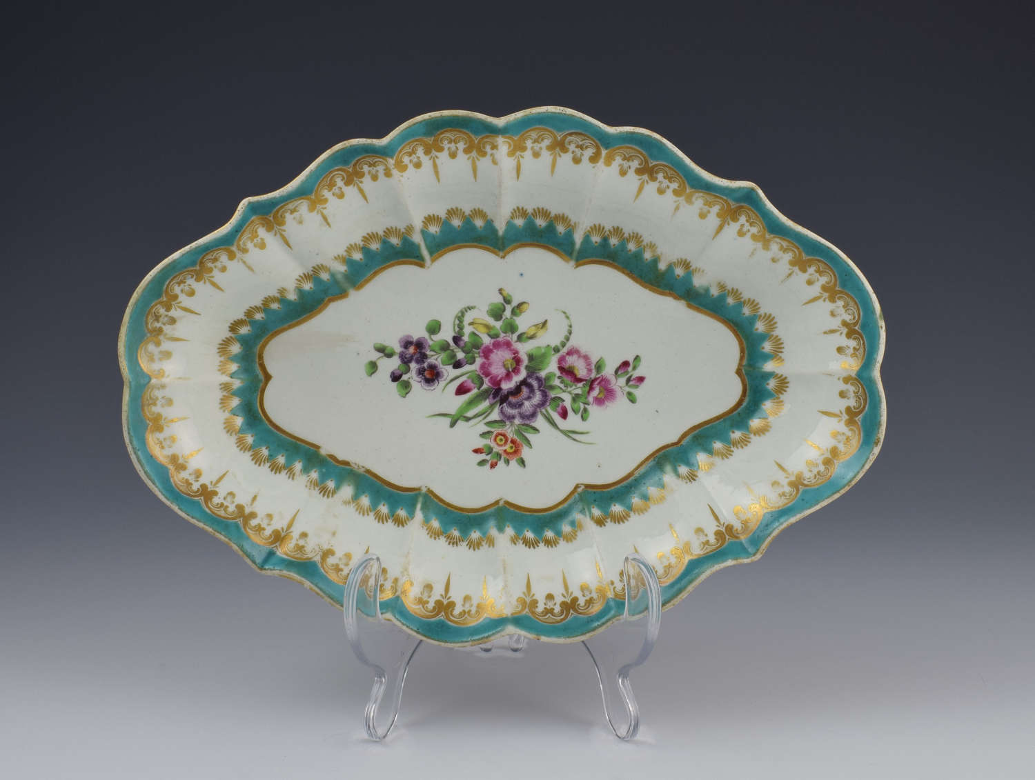 First Period Worcester Turquoise Ground Lozenge Shape Dish C.1770