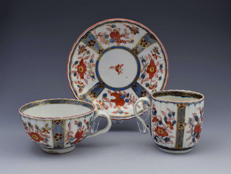 First Period Worcester Imari Trio Tea Coffee Cup & Saucer C.1770