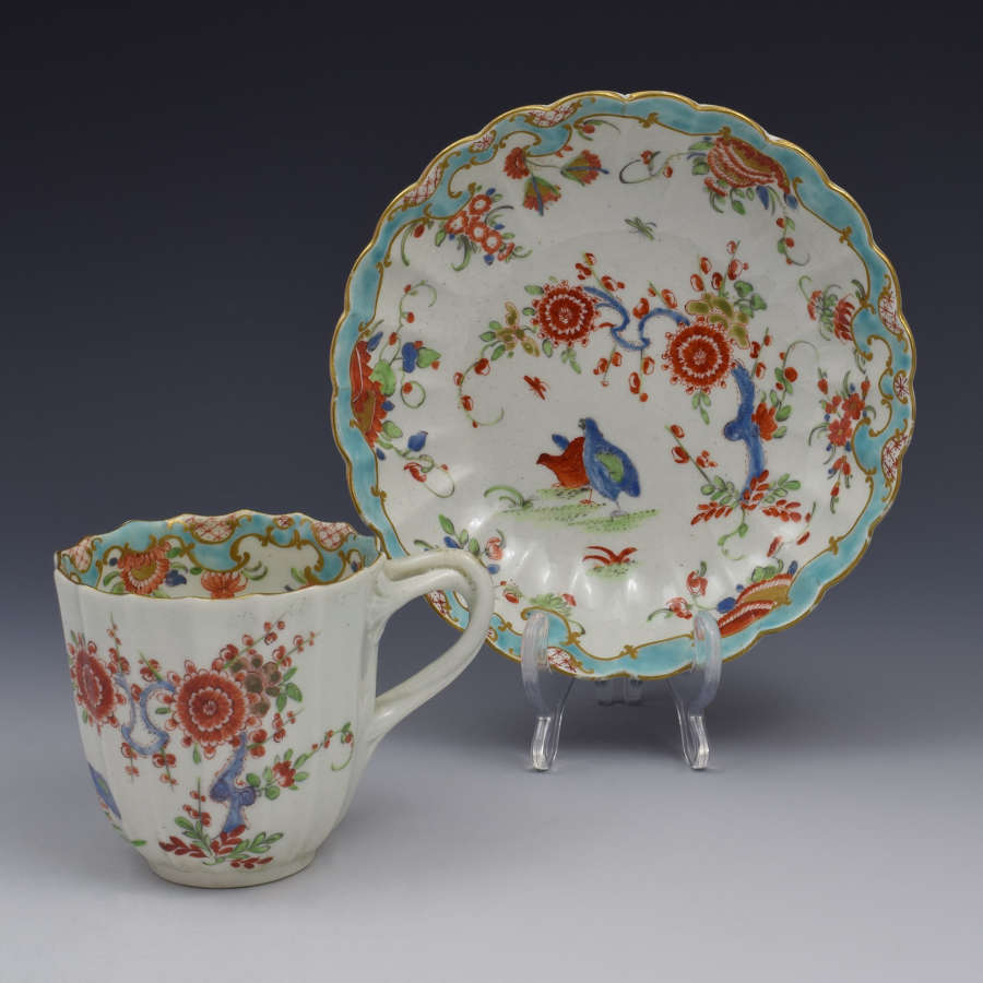 First Period Worcester Two Quail Pattern Coffee Cup & Saucer