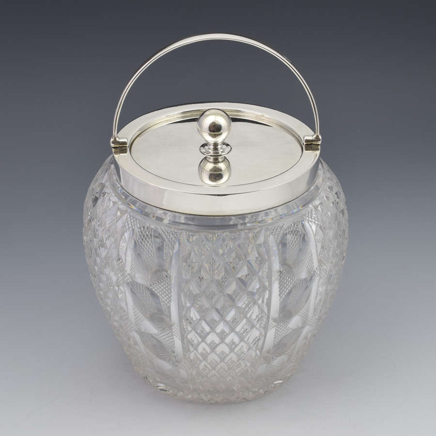 Edwardian Silver & Cut Glass Biscuit Box / Barrel Grinsell & Sons