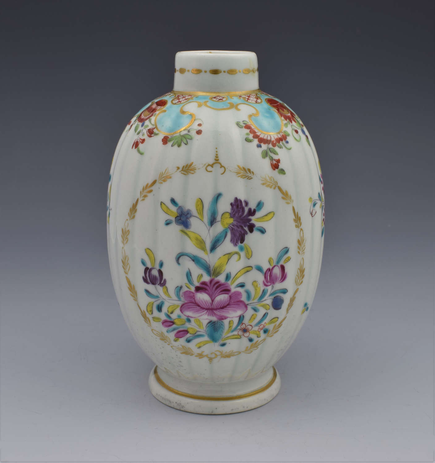 First Period Worcester Polychrome Porcelain Tea Canister