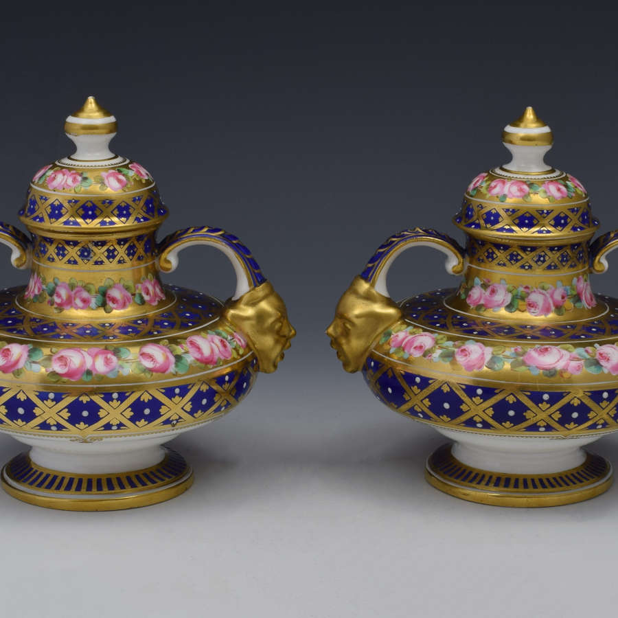Stunning Pair Royal Crown Derby Vases & Covers