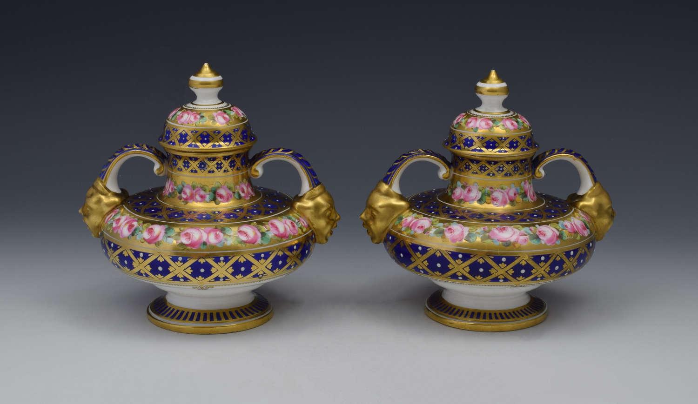 Stunning Pair Royal Crown Derby Vases & Covers