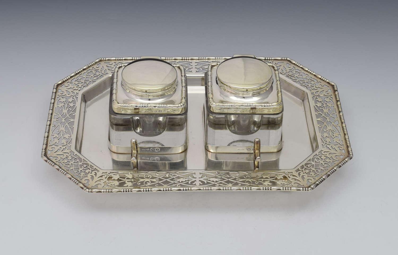 George V Octagonal Silver Double Inkstand W & R Rabone 1916