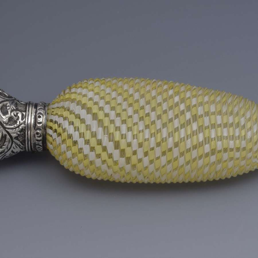 Silver Mounted Yellow & White Twisted Glass Scent Bottle