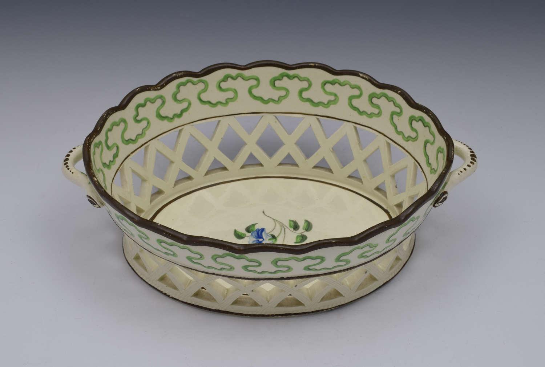 Georgian Botanical Creamware Chestnut Basket C.1770