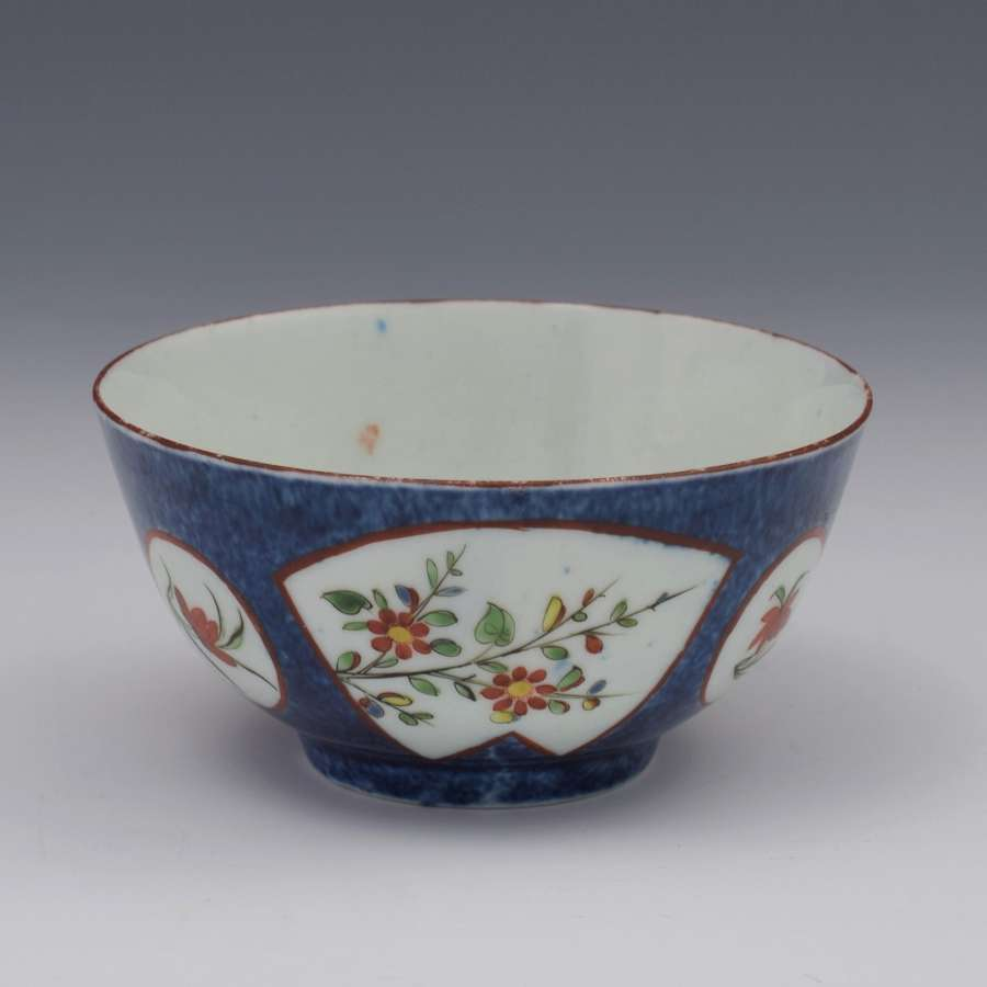 First Period Worcester Powder Blue Tea Bowl Exotic Flowers