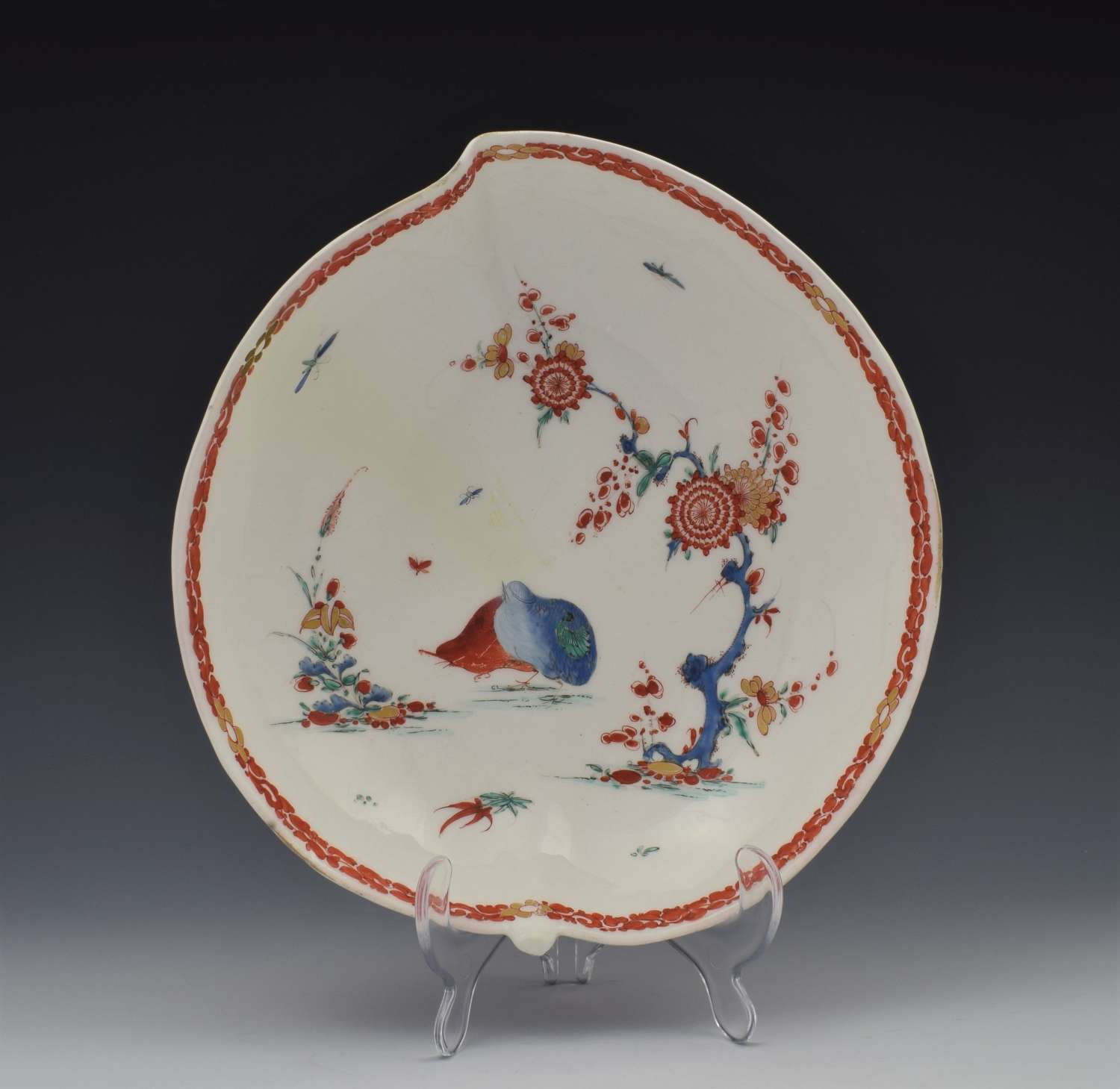 Bow Porcelain Leaf Dish Two Quail Pattern C.1755