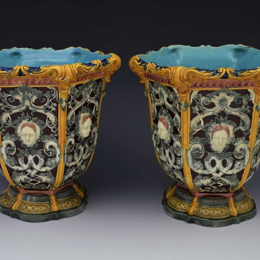 Victorian Pair Of Copeland Mask Face Majolica Jardinieres