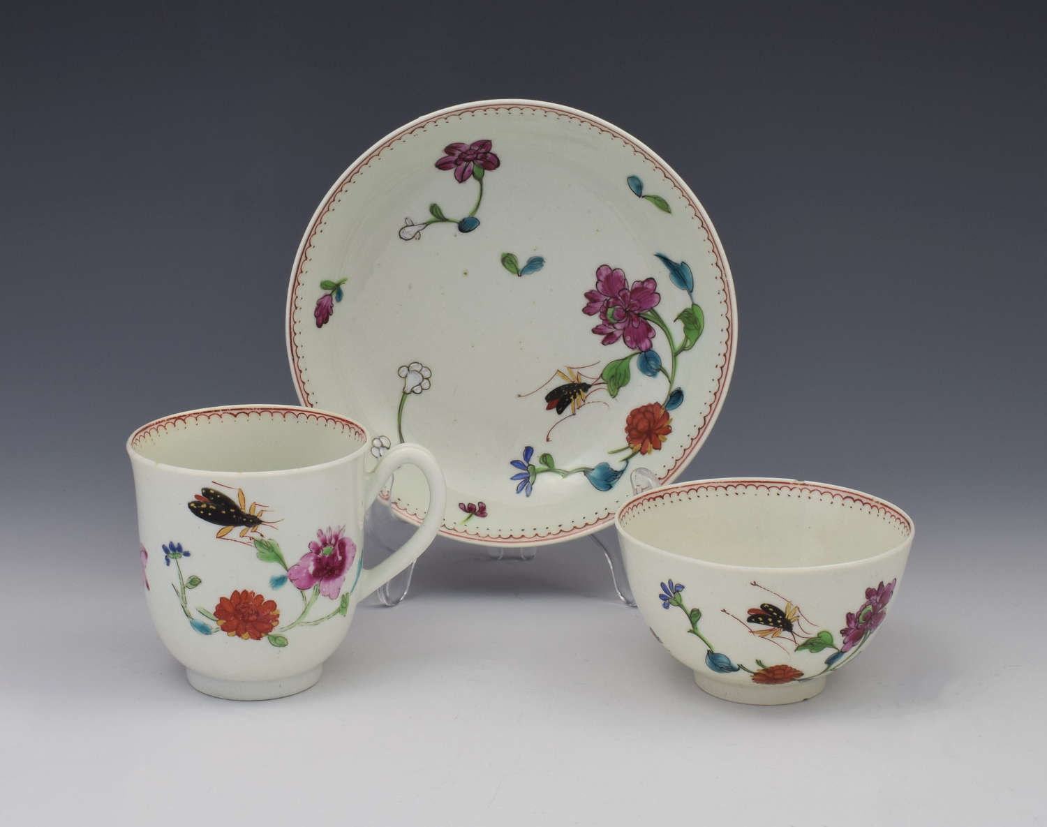 First Period Worcester Harvest Bug Pattern Trio Cup & Saucer C.1770