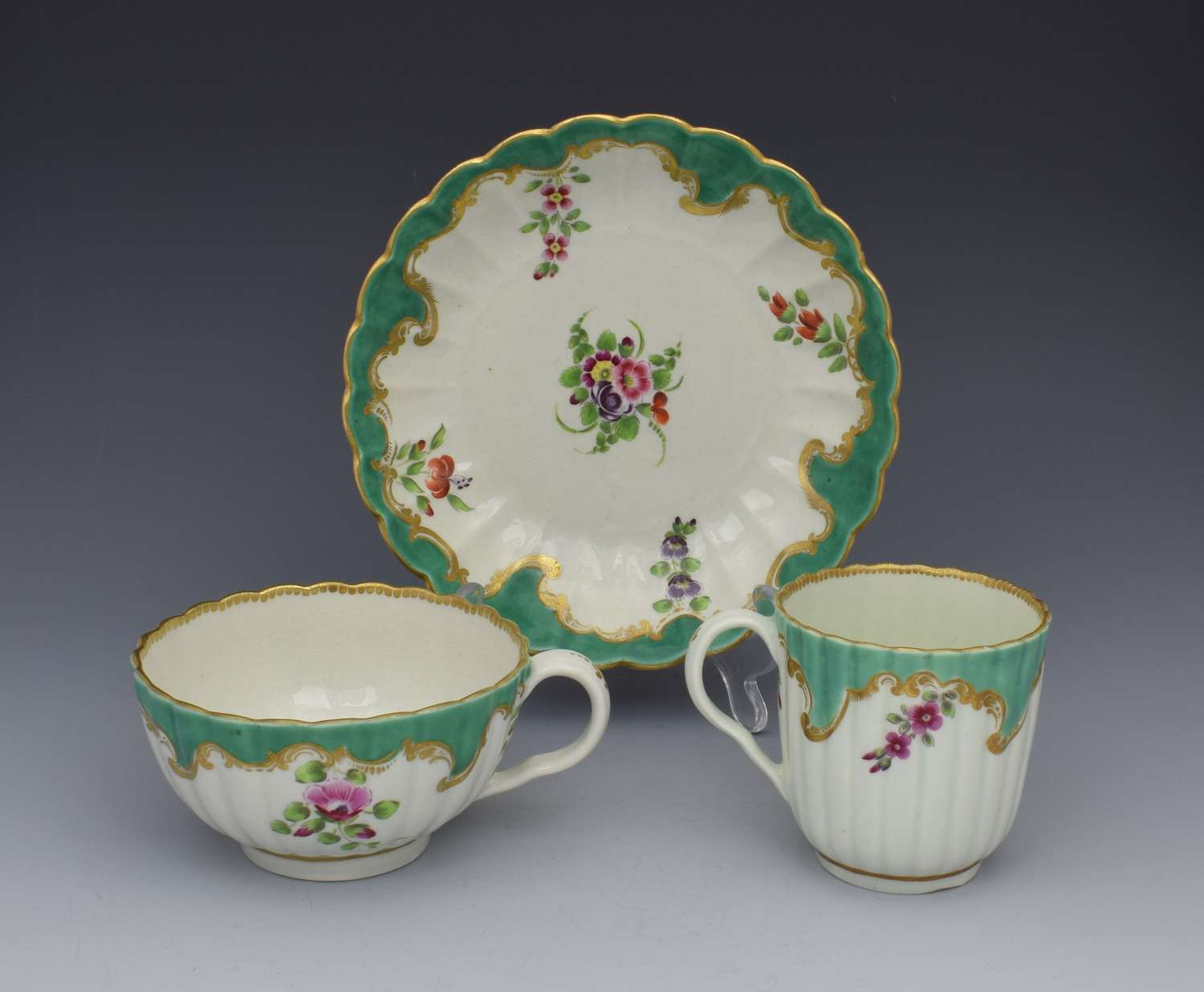 Rare First Period Worcester Apple Green & Polychrome Trio C.1770