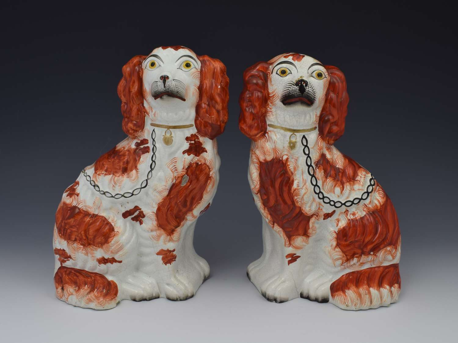 Pair Russet & White Victorian Staffordshire Fireside Spaniels Dogs
