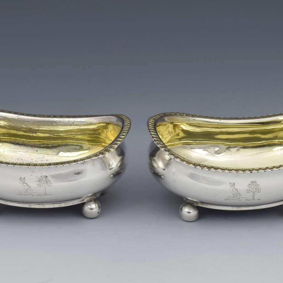 Pair Georgian Silver Table Salts Alice & George Burrows 1809