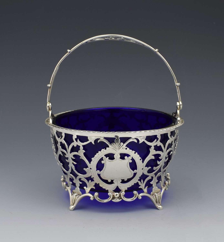 George V Silver & Blue Glass Bonbon Sugar Basket Adie Bros.