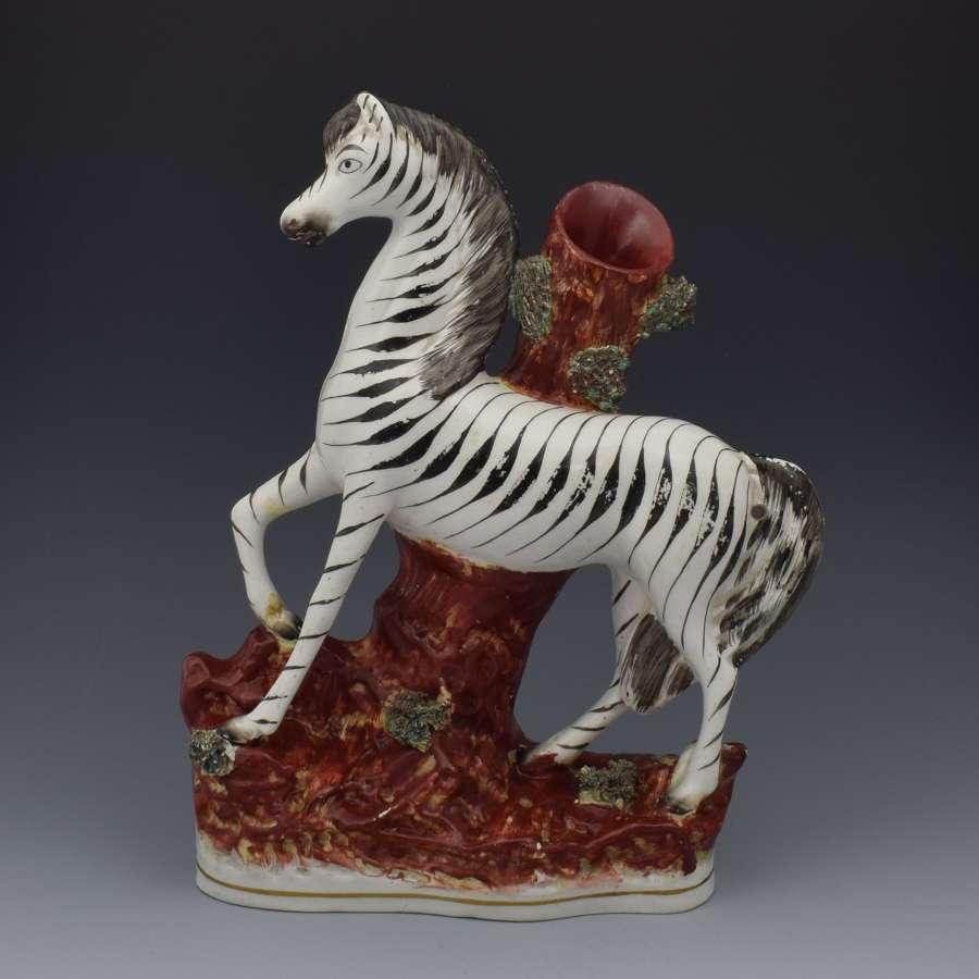Large Victorian Staffordshire Zebra Spill Vase C.1860