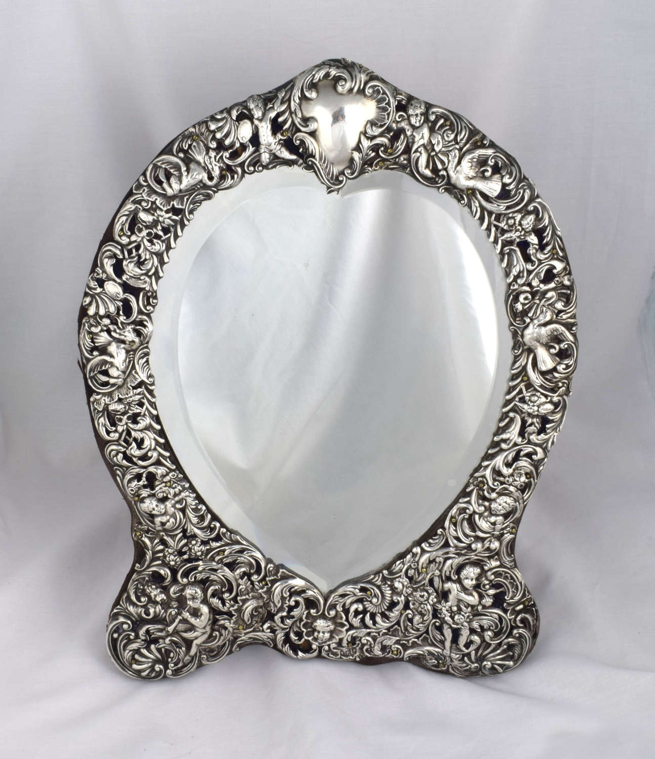 Large William Comyns Heart Shape Silver Dressing Table Mirror