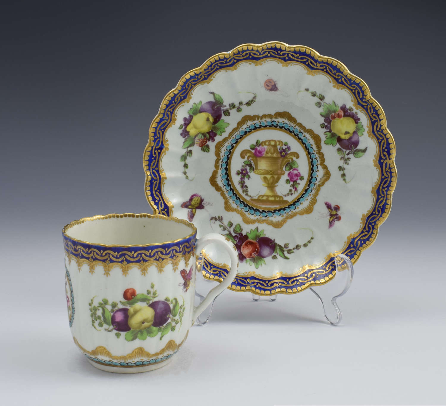 First Period Worcester Lord Henry Thynne Style Cup & Saucer Zorensky