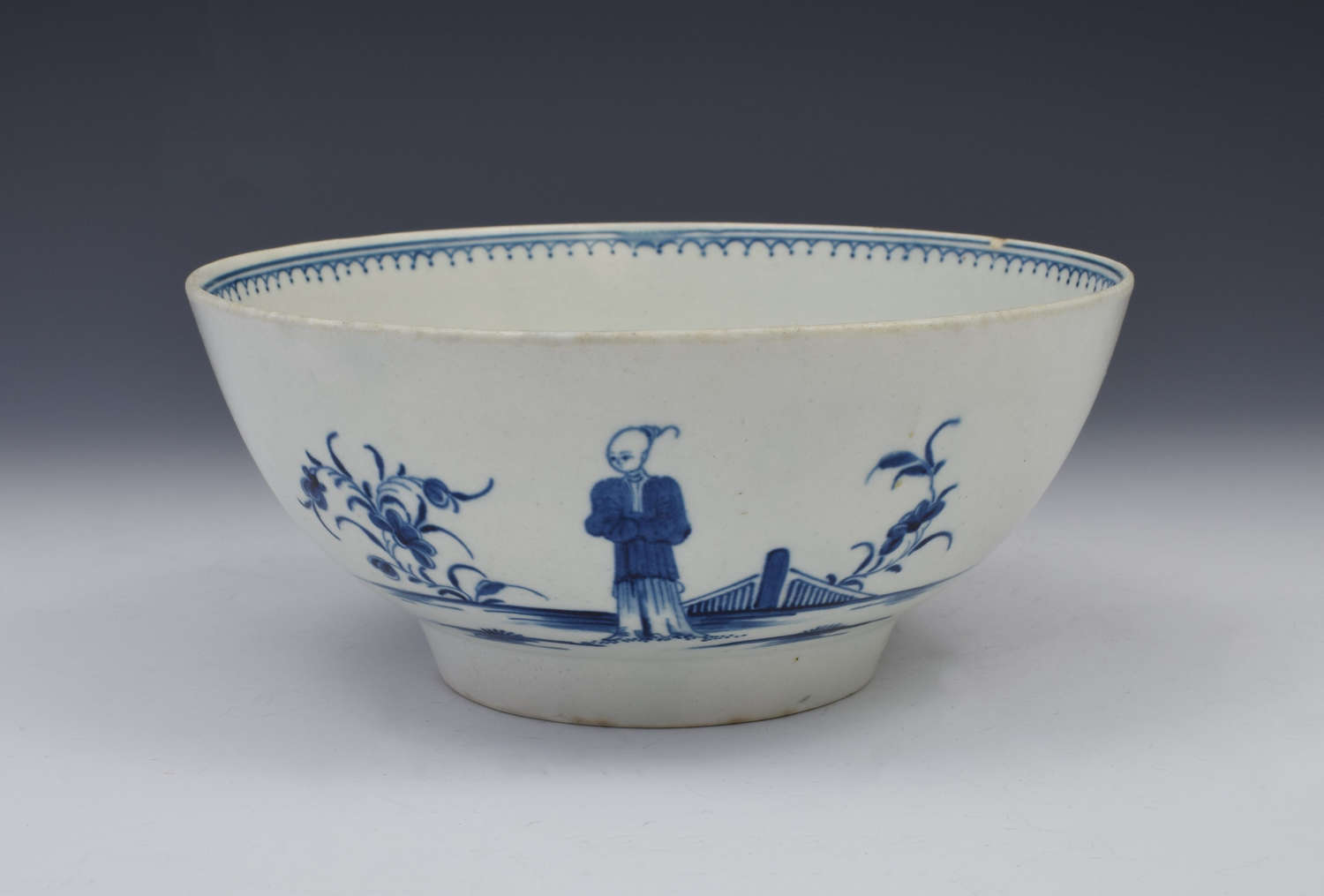 Large Worcester First Period Bowl The Waiting Chinaman Blue & White C.