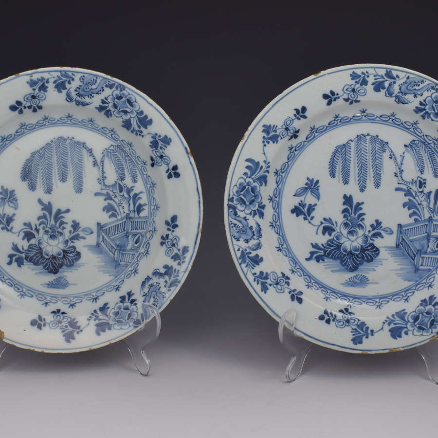 Pretty Pair Early 18thc Dutch Delft Plates Chinoiserie Scene