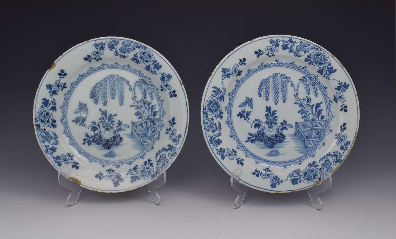 Pretty Pair Early 18thc Dutch Delft Plates Chinoiserie Scene
