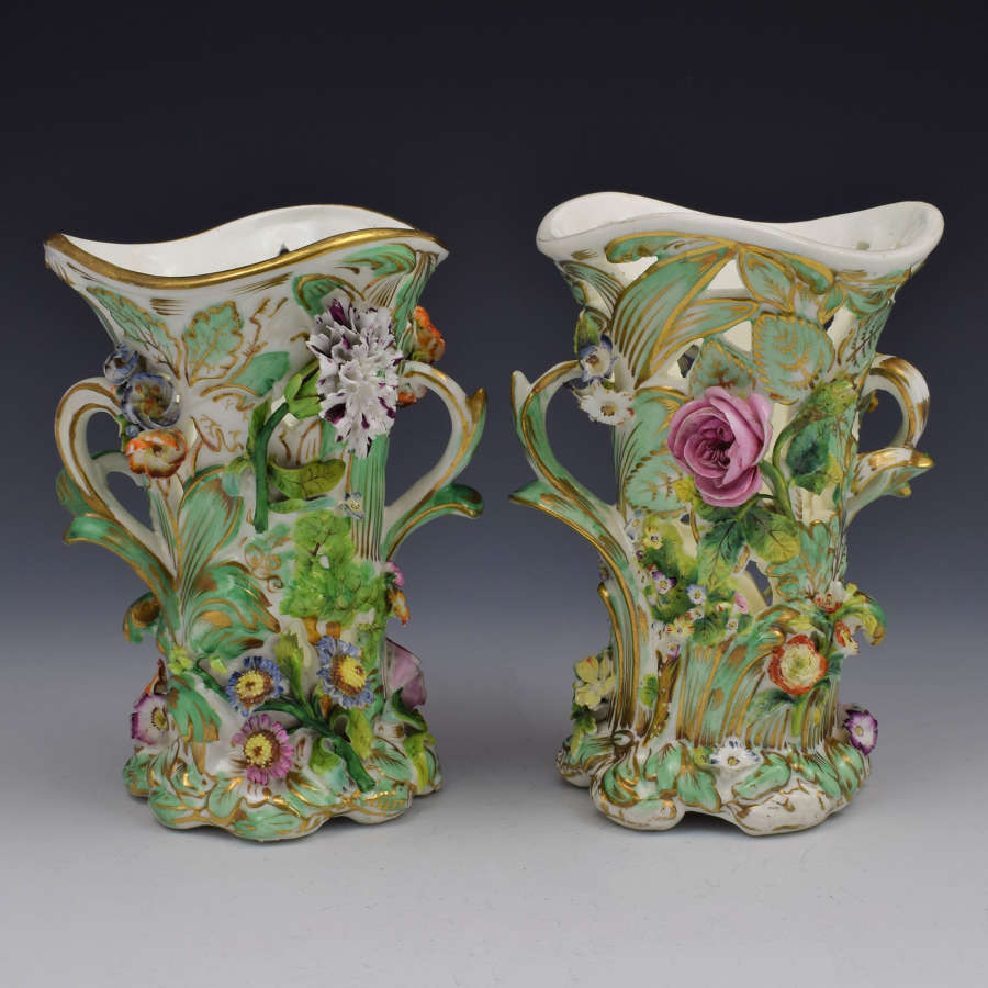 Pair Reticulated Coalport Flower Encrusted Vases Coalbrookedale Style