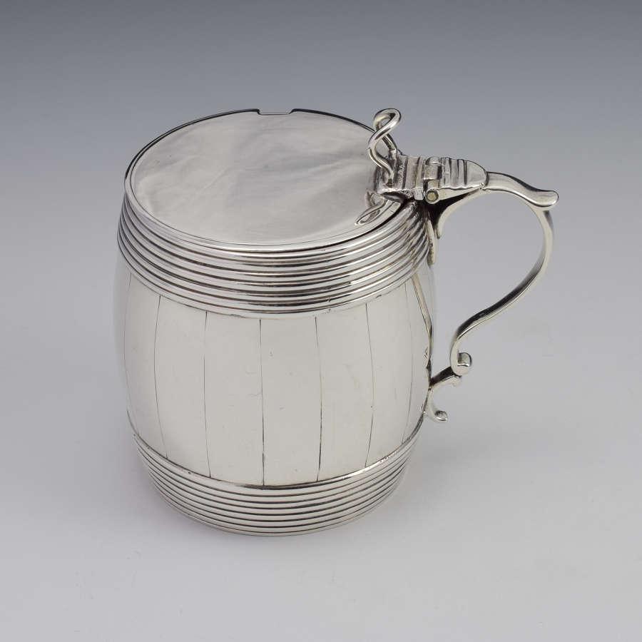 Georgian Silver Barrel Mustard Pot Joseph Wyatt London 1792