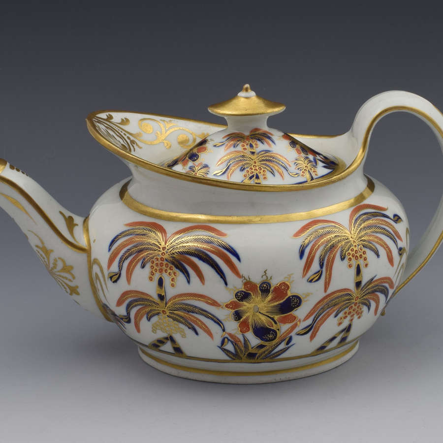 Stunning New Hall Boat Shape Teapot Pattern 484 C.1800