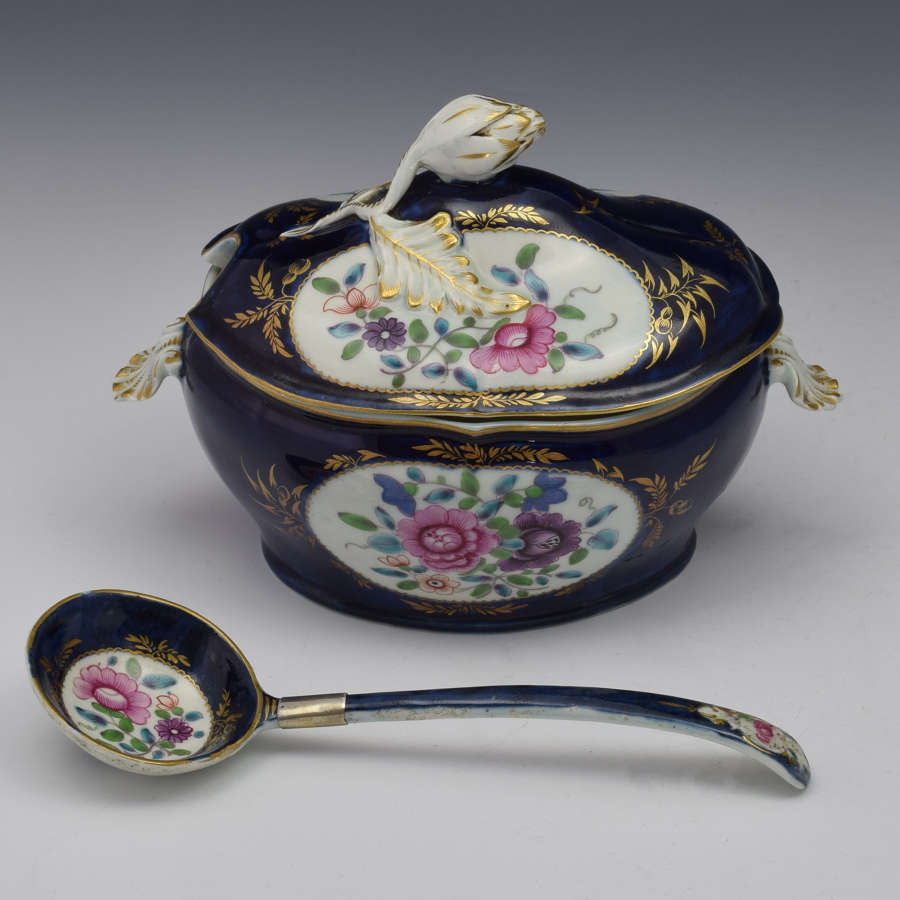 First Period Worcester Sauce Tureen & Spoon Compagnie Des Indes