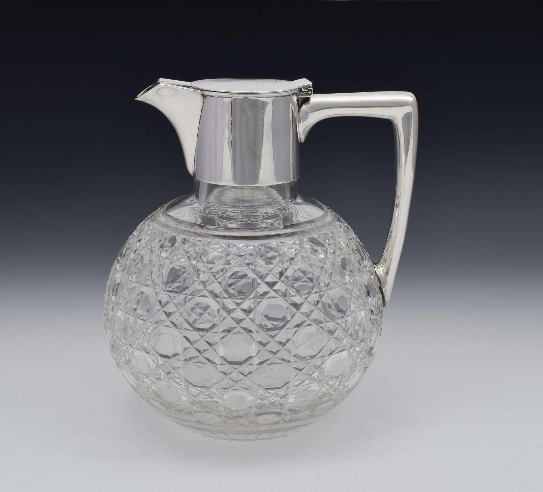 Victorian Dresser Style Silver & Cut Glass Claret Jug Barnard & Sons