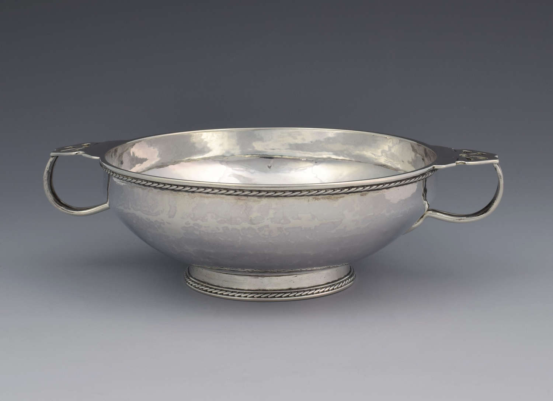 Arts & Crafts Silver Quaich Porringer John Sidney Reeve 1914