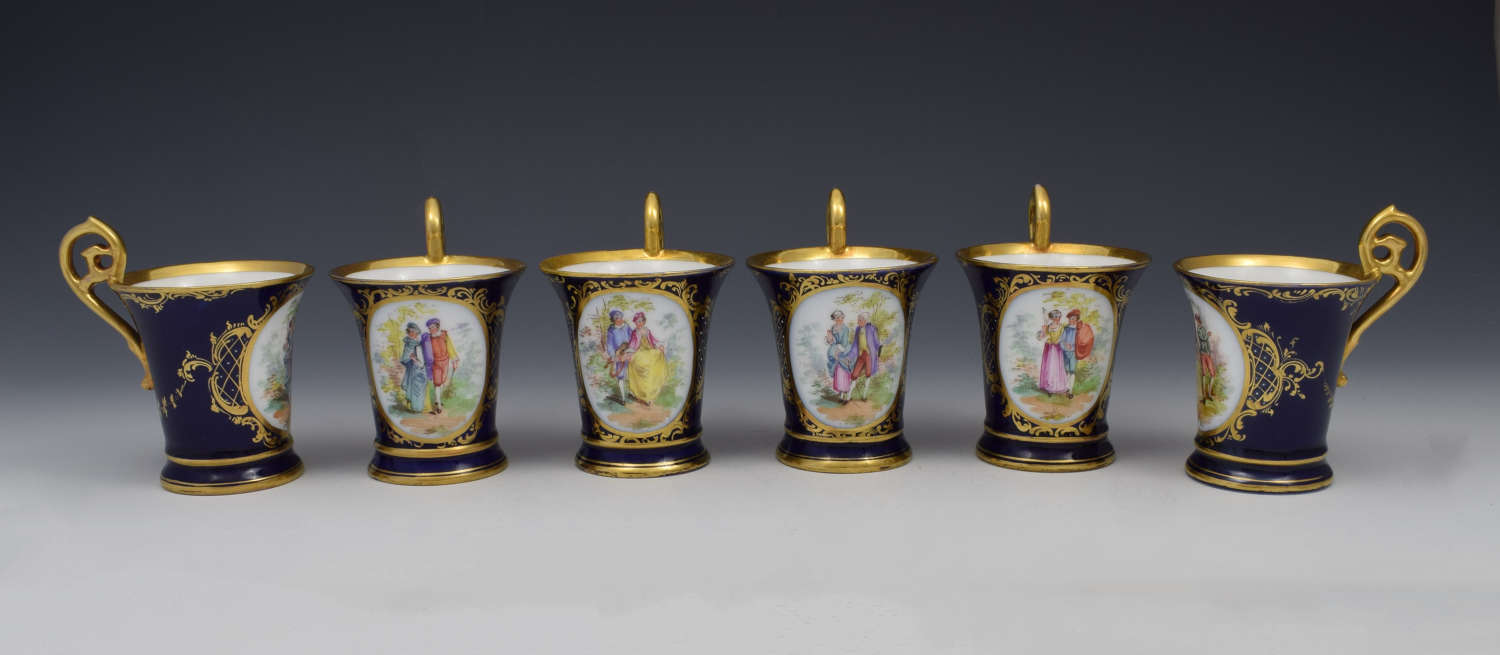 Set 6 Dresden Cabinet Cups Watteau Courting Couples