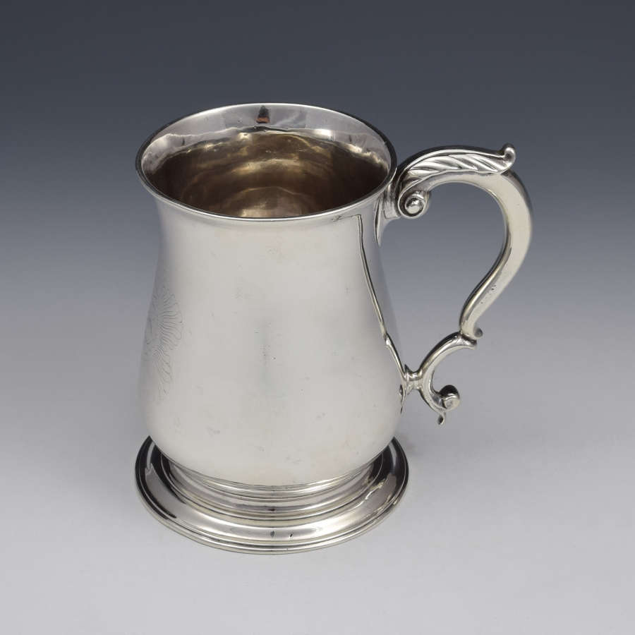 George II Silver 1 Pint Beer Mug Tankard London 1752