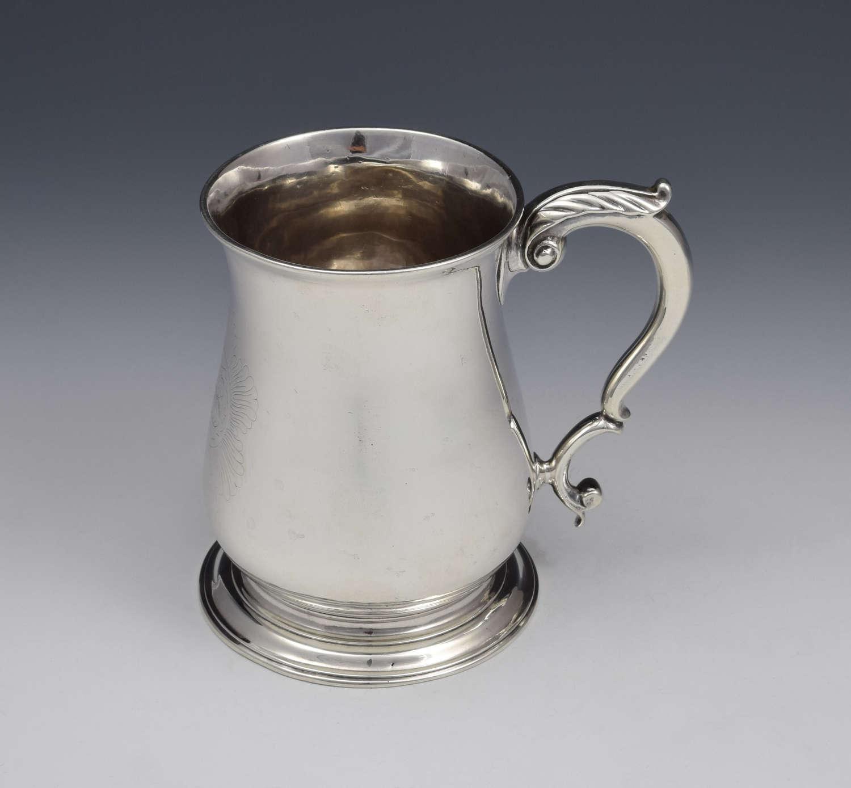 George II Silver 1 Pint Beer Mug Tankard London 1752